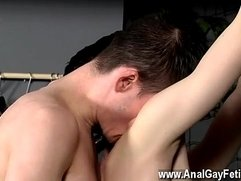 Hardcore gay Victim Aaron gets a whipping, then gets his crevice