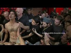 Nasty gay men in public gangbang sex