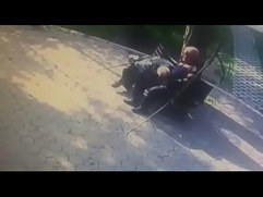 Old men outdoor kissing gay to gay