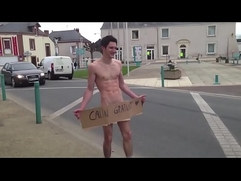 french guy completely naked in public street after loosing a bet