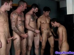 Spencer Fox sucking a line up of cocks