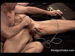 Hot muscular dude big dick electro stim