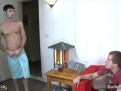 Lovely married guy Brandon Lewis gets pussy nailed