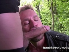 Extreme rough gay orgy session with horny studs in the woods