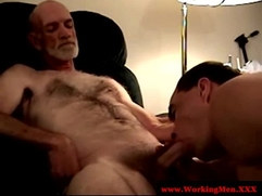 Old gay guy sucking young dick