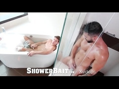 ShowerBait Bathroom masturbation foreplay leads to fuck
